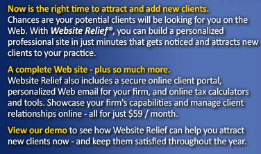 With Website Relief, you can build a personalized professional site in just minutes that attracts new clients to your practice.