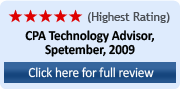 Highest Rating (5 Stars) CPA Technology Advisor, September 2009