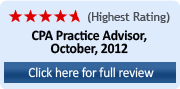 Highest Rating (4.75 Stars) CPA Practice Advisor, October 2012