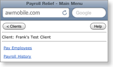 Payroll Relief Mobile - Main menu