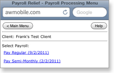 Payroll Relief Mobile - Payroll Processing menu