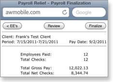 Payroll Relief Mobile - Payroll Finalization