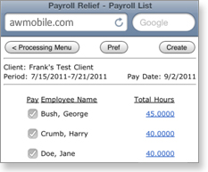 Payroll Relief Mobile - Payroll List